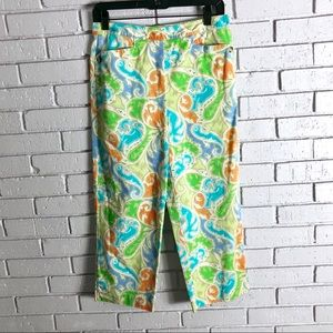 Talbots Petite Stretch Paisley Printed Ankle Pants